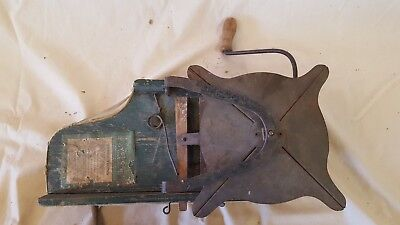Antique Primitive Cyclone Seed Sower Farm Tool Hand Crank Seeder good bag Old