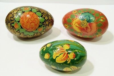 Handmade Hand Painted Floral Wooden Easter Eggs Made In Kashmir India or Persian