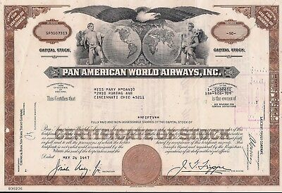 Vintage Stock certificate Pan American World Airways, Inc. Less Than 100 Shares