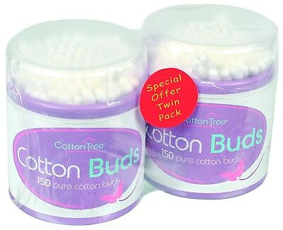 COTTON TREE 150 Cotton Buds x 2 Twin Pack (Top Quality Product)