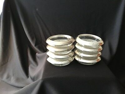 Vintage Frank M Whiting Beaded Sterling Silver Rim Glass Wine Coasters Lot of 8