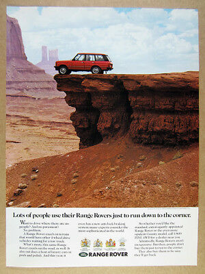 1990 Range Rover Classic desert mountains photo vintage print Ad