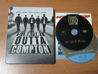 Straight Outta Compton (Blu-ray/DVD, 2016) VG+ LIMITED HMV STEELBOOK!