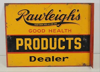 Rawleigh's Good Health Vintage Ad Medical 2-Sided Tin Metal Antique Store Sign