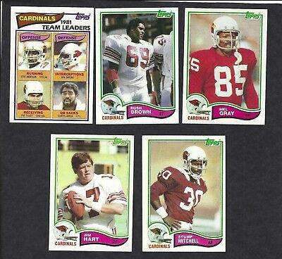 1982 Topps Football Lot Of 5 St Louis Cardinals 462 466 467 469 472 Vintage