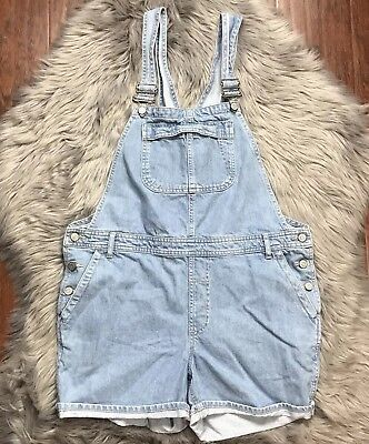 TopShop MOTO Maternity Dungaree Overall Shorts Size US 8 Light Wash Pregnancy