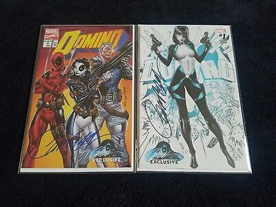 DOMINO #1 J Scott Campbell Signed book set of 2 COA AB Campbell Exclusives