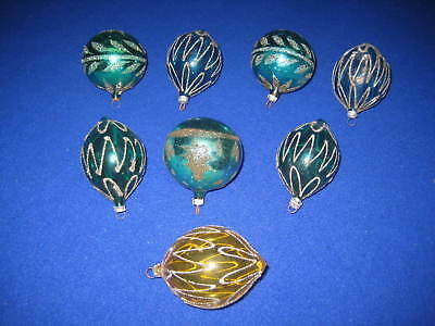 Lot Of 8 Vintage Glass Christmas Ornaments - West Germany