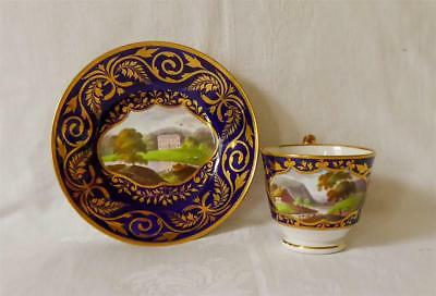 VERY FINE ANTIQUE EARLY 19TH CENTURY RIDGEWAYS PORCELAIN CUP AND SAUCER c1830