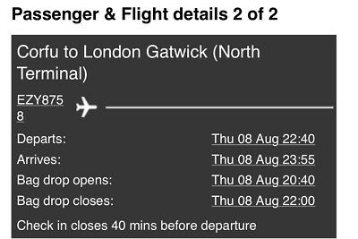 Fights - London Gatwick to Corfu. 1st August 2019 - 8th August 2019