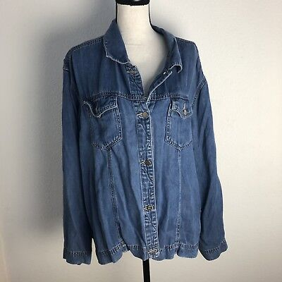 25327a9ff8 COLDWATER CREEK Indigo Blue Super Soft Tencel Boxy Denim Jean Jacket Sz 2X