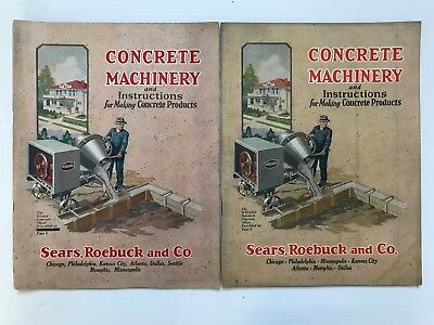 (2) Antique 1929 Concrete Machinery Catalogs-Sears, Roebuck and Co.