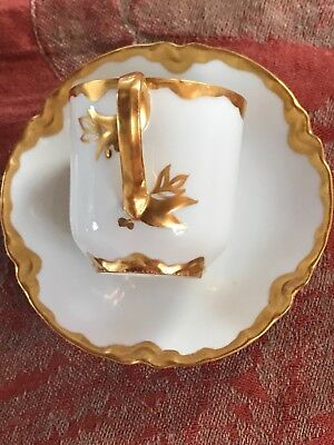 Haviland Heavy Gold Demitasse Cup & Saucer Mint