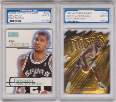 Lot of 2 - 1997 - GRADED MINT 9!!!   Tim Duncan (RC) & Jerry Stackhouse