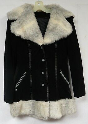 Vintage 70s Coat Faux Fur Collar Suede Velvet Black Trench Ring Pull Zip