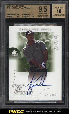 2001 SP Authentic Golf Tiger Woods ROOKIE RC AUTO /900 #45 BGS 9.5 GEM MT (PWCC)