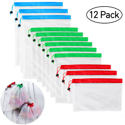 12Pcs Reusable Mesh Produce Bags for Grocery Shopping & Storage Fruit Vegetable