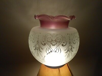 Antique Victorian Art Nouveau Cranberry Etched Glass Oil Lamp Shade