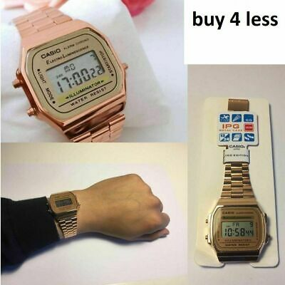 NEW Casio Unisex Retro Digital Steel Bracelet Watch-A168WA-1YES  Rose Gold