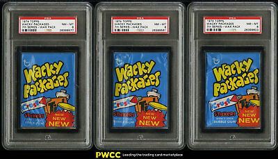 Lot(5) 1974 Topps Wacky Packages Wax Pack 7th Series PSA 8 NM-MT (PWCC)