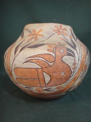 Antique Acoma Polychrome Parrot Olla Pot - Old Native American Indian Pottery