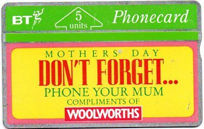 "Bt Phonecards – Woolworths – ""Mothers Day Don'T Forget Phone Your Mum"""