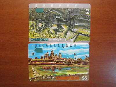 Phonecards Rare Telstra $2 one hole $5 2 hole Cambodia phone cards used