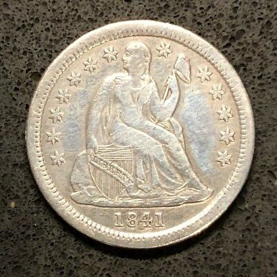 1841 Seated Liberty Dime 10c, SMALL STARS, About Uncirculated!