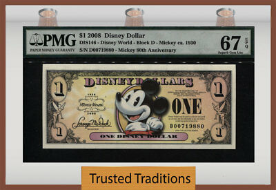 "Tt 2008 Disney Dollar $1 ""mickey"" Pmg 67 Epq The Happiest Note In The Hobby!"
