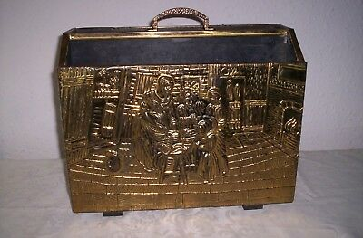 Vintage Brass Embossed Magazine Rack Twin Compartments tudor scene 99p no res