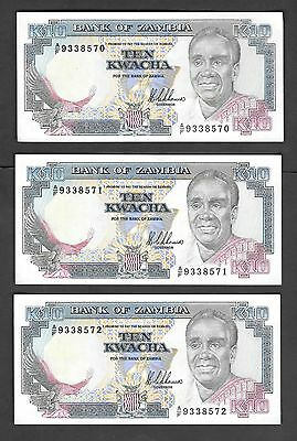 Zambia 3 x 10 Kwacha UNC Banknotes 1989 p31a Sequential Serial Numbers