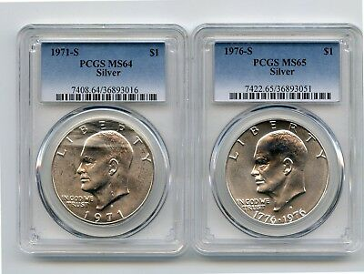 1971-S/1976-S Silver Eisenhower Dollars (MS64/MS65) PCGS Two Coins