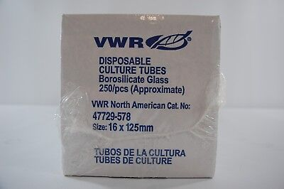 VWR Disposable Borosilicate Glass Tubes 250 per pack 16x125mm 47729-578