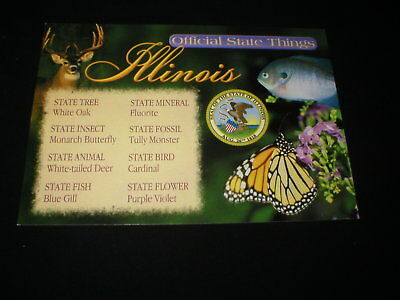 """ILLINOIS <> Official State """"Things"""" Seal-Bird-Flower-Fish Postcard"""