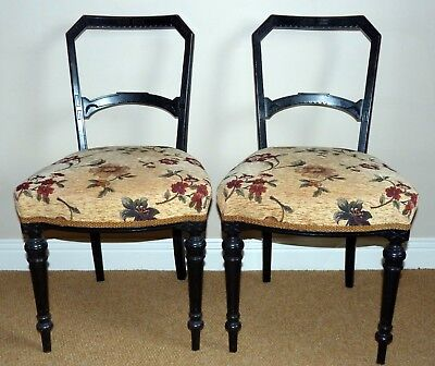 Pair Of Antique Ebonised Wood Dining Chairs