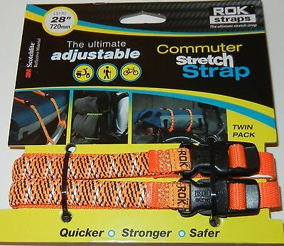 "ROK Straps Commuter adjustable Luggage Tie Down 12"" - 28"" x 3/8"" Bicycle ORANGE"