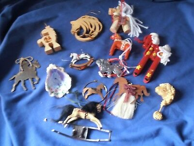 Collection LOT HORSE ORNAMENTs 12 Metal Wood Clay DALA Swedish Shell VINTAGE