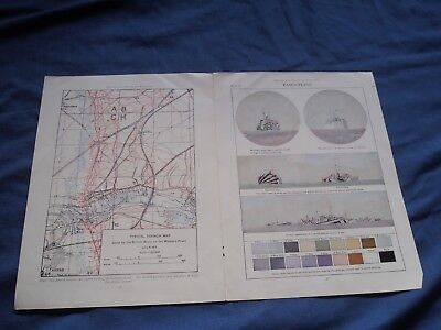 VINTAGE 1919 WWI British TRENCH MAP Camouflage Ship Europe NEW MAP Brittanica
