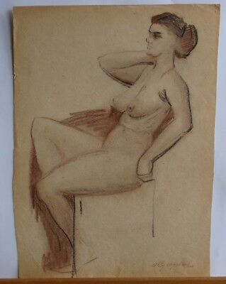Vintage Original Drawing Nude Woman Painting Ussr Figures Realism Old Signed