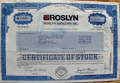 Stock certificate Roslyn Bancorp, Inc. 1997 State of Delaware