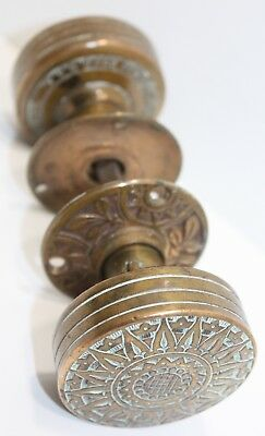 Russell & Erwin Antique Brass Bronze Door Knob Set 2 Victorian Eastlake Sunburst
