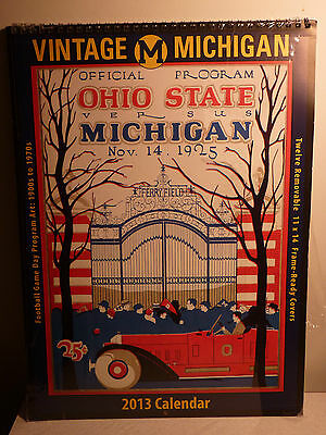 Michigan Wolverines 2013 Vintage Football Calendar 12 11 x 14 Frame Ready Covers