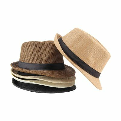 ac7543b6 Unisex Fedora Trilby Hat Cap Straw Panama Style Packable Travel Sun Hat WQ