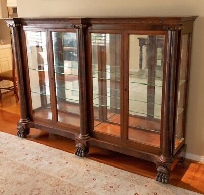 Antique American Empire Mahogany Double China Cabinet