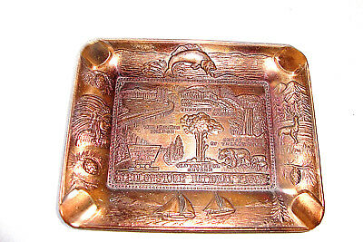 Vintage Copperized Yellowstone Souvenir Ashtray with Sights, Nice Detail, Japan