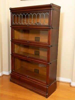 Antique Globe Wernicke 4-Stack Leaded Glass Mahogany Barrister Lawyers Bookcase