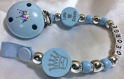 ♕ Personalised DUMMY CLIP Your Name Choice ♕ LITTLE PRINCE ♕ Silver and BLUE ♕