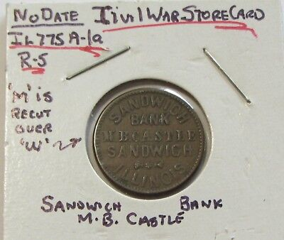Civil War Token Exchange And Loan Sandwich Bank Illinois Castle Recut Die R-5