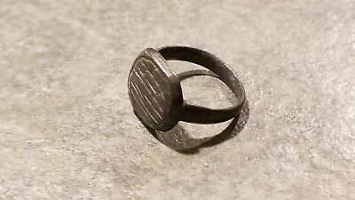 Ancient Roman Bronze RING (#14b) Lines Engraved Bezel, 18 mm, Wearable
