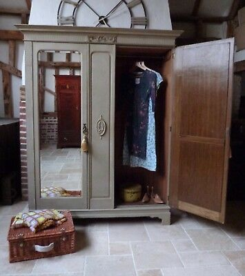 French painted double 2 mirror doors with internal drawer armoire wardrobe